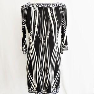 Donna Morgan Black/Cream Geometric Sheath Dress